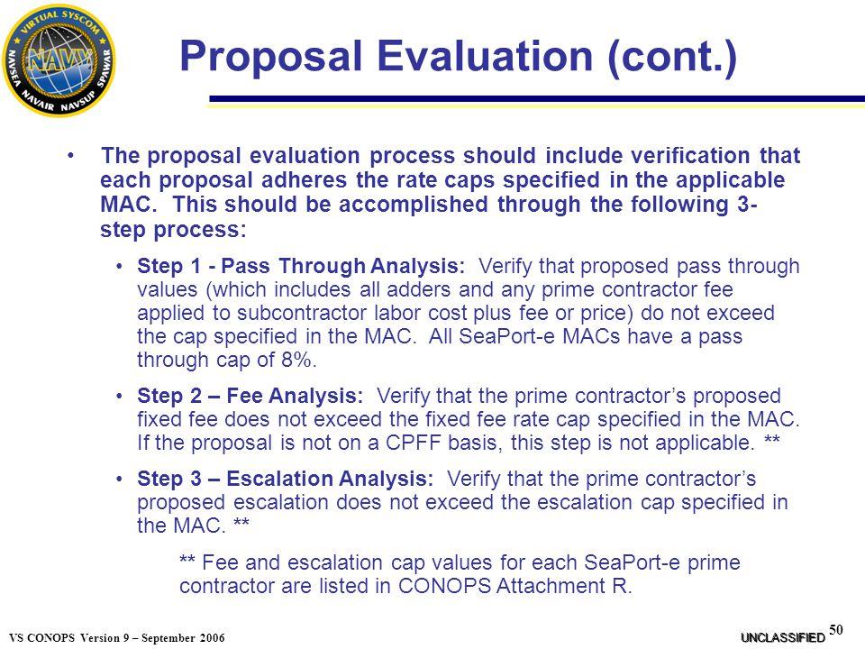 Proposal Evaluation (cont.)