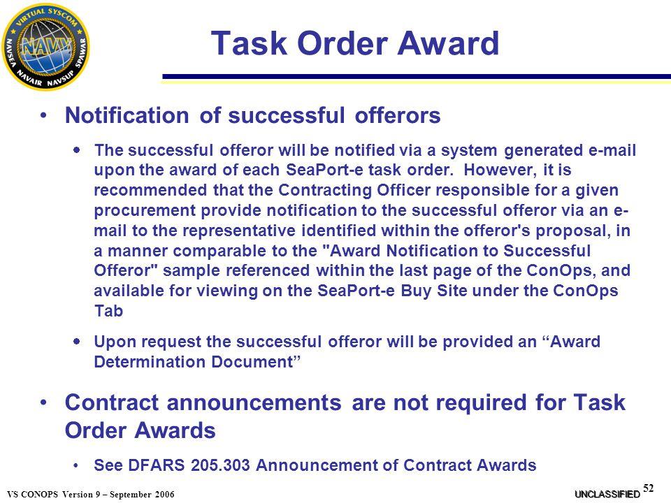 Task Order Award Notification of successful offerors