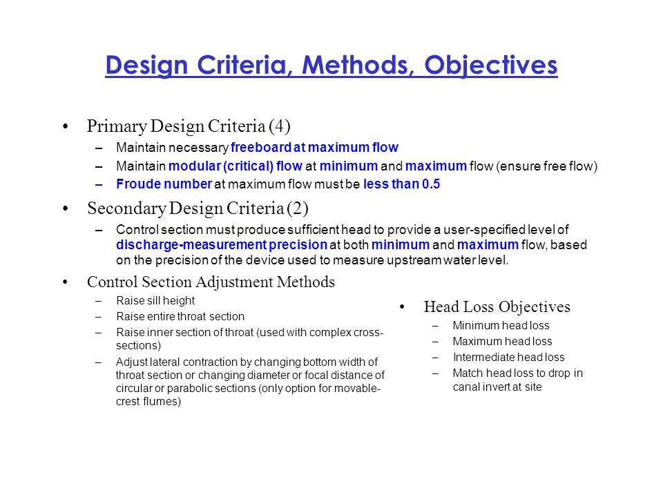 Design Criteria, Methods, Objectives