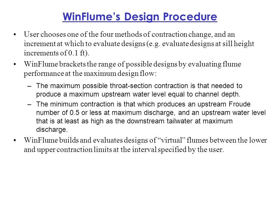 WinFlume's Design Procedure