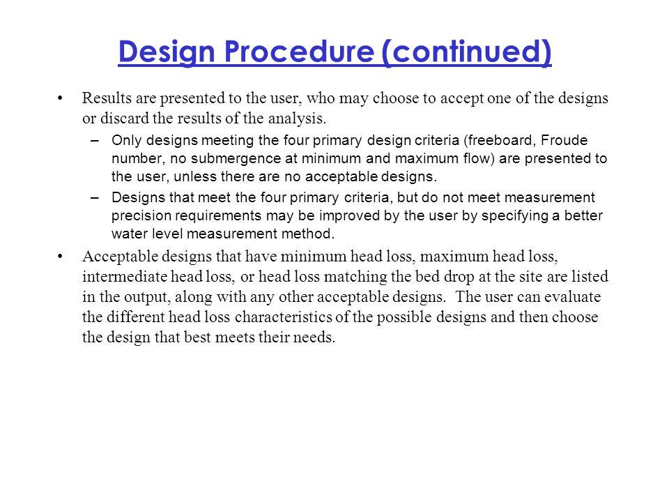 Design Procedure (continued)