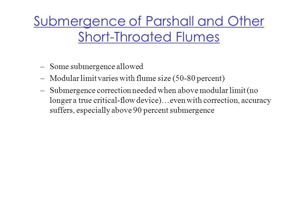 Submergence of Parshall and Other Short-Throated Flumes