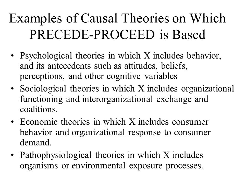 Examples of Causal Theories on Which PRECEDE-PROCEED is Based