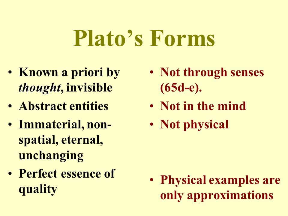 Plato's Forms Known a priori by thought, invisible Abstract entities