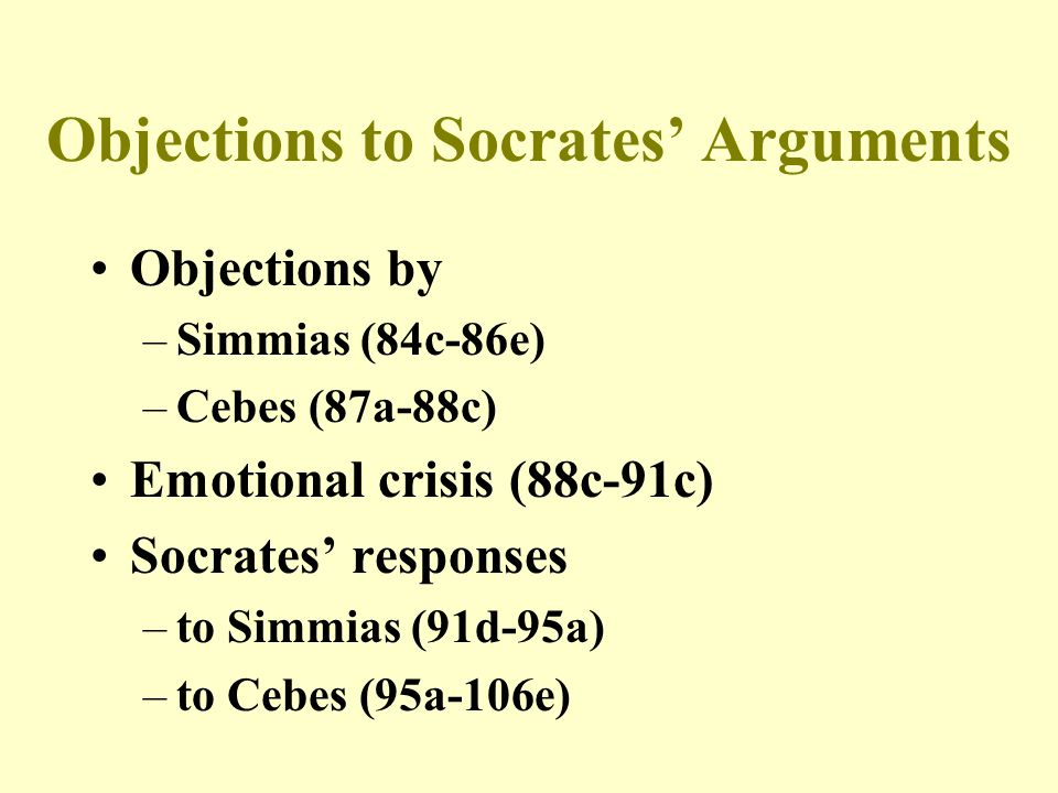 Objections to Socrates' Arguments