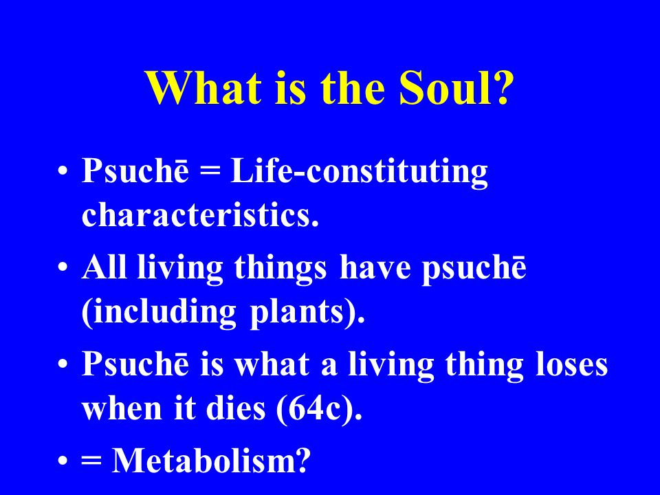 What is the Soul Psuchē = Life-constituting characteristics.