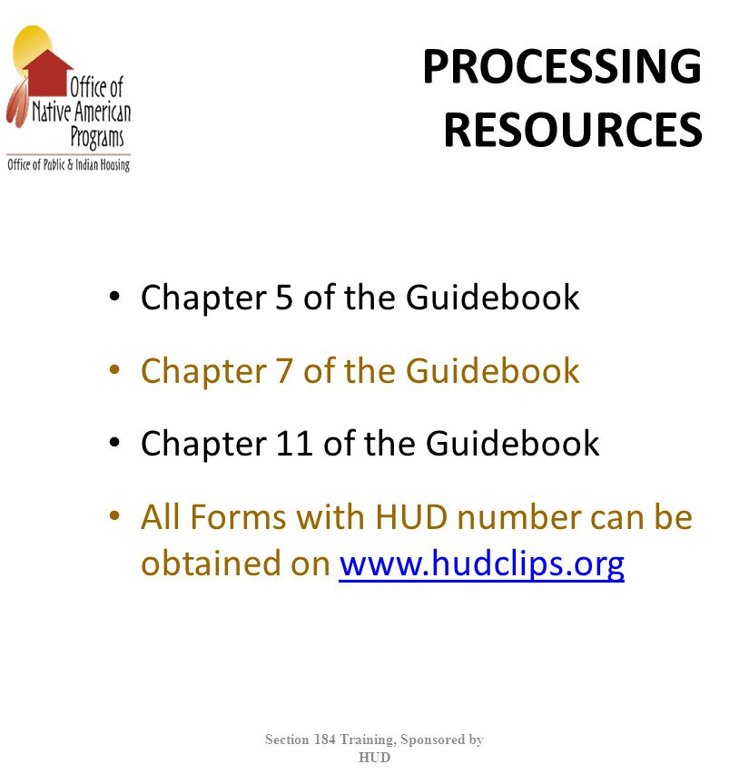 Section 184 Training, Sponsored by HUD
