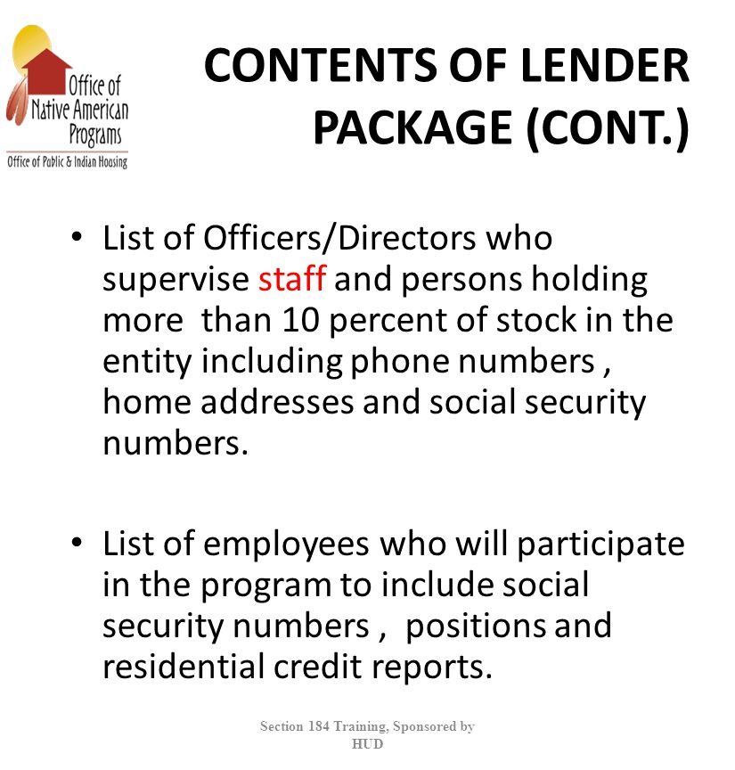 CONTENTS OF LENDER PACKAGE (CONT.)