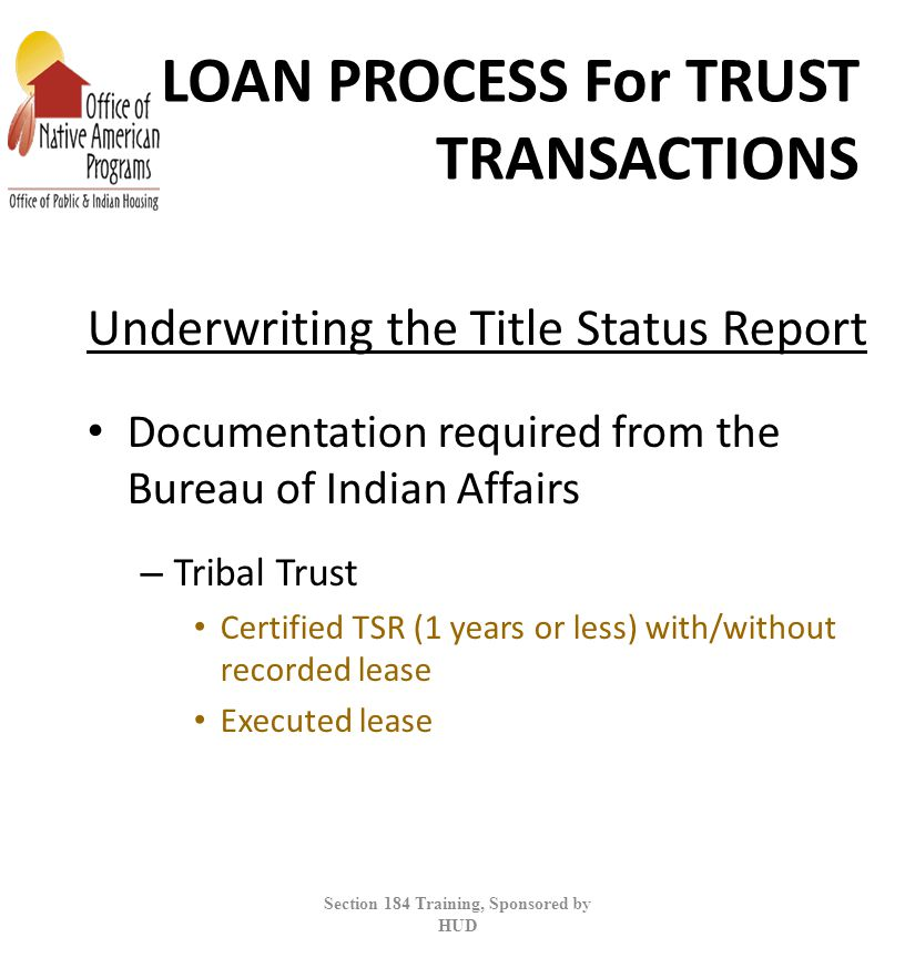 LOAN PROCESS For TRUST TRANSACTIONS