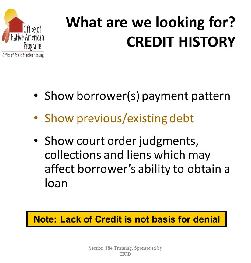 What are we looking for CREDIT HISTORY