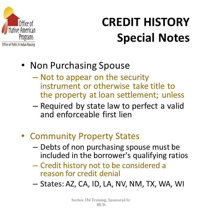CREDIT HISTORY Special Notes