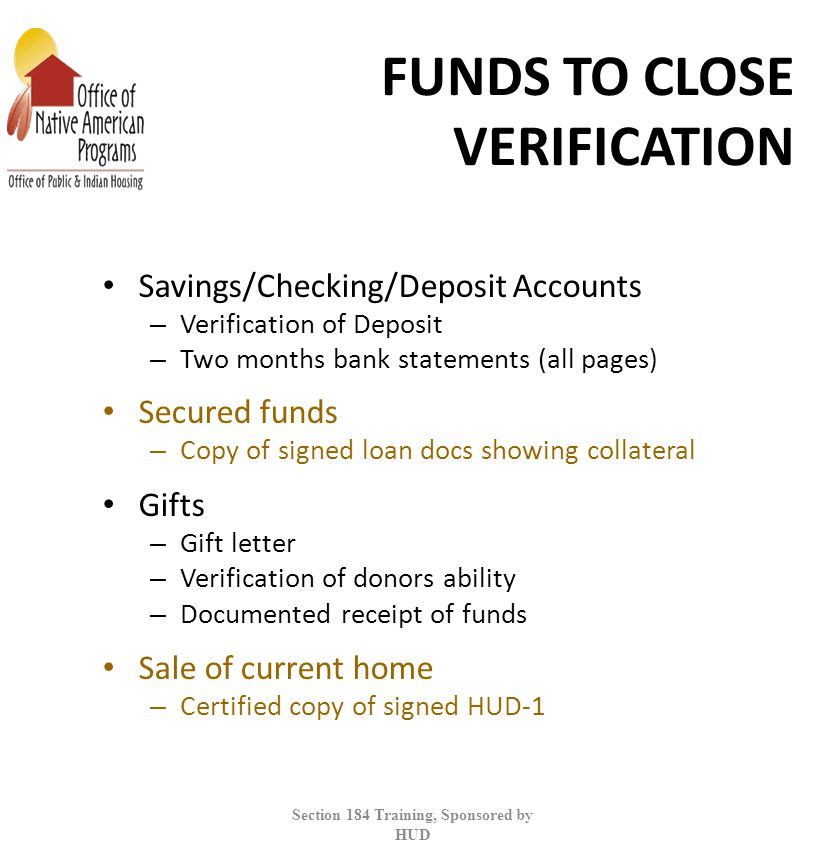 FUNDS TO CLOSE VERIFICATION