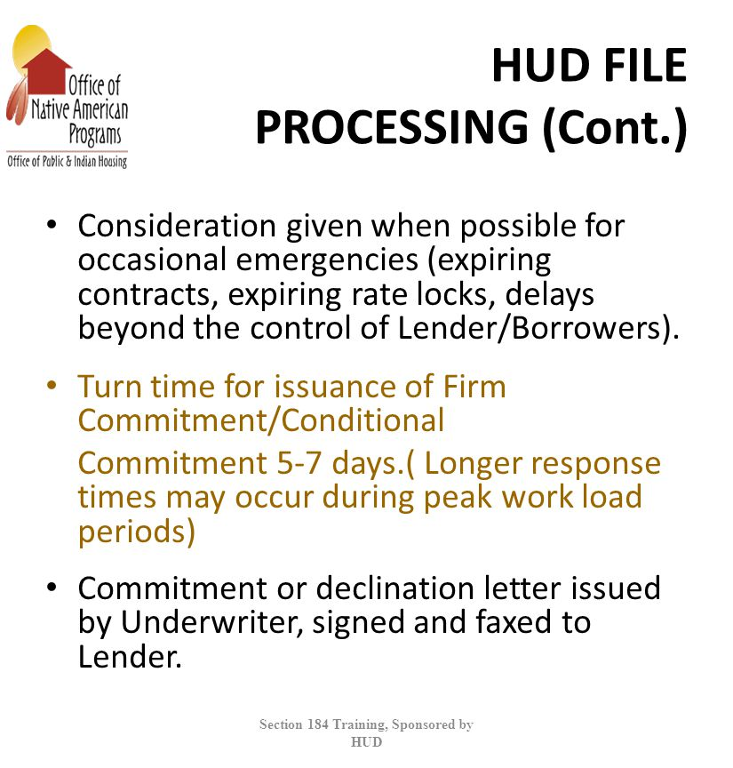 HUD FILE PROCESSING (Cont.)