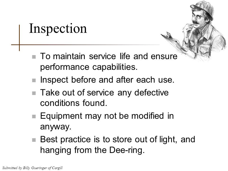 Inspection To maintain service life and ensure performance capabilities. Inspect before and after each use.