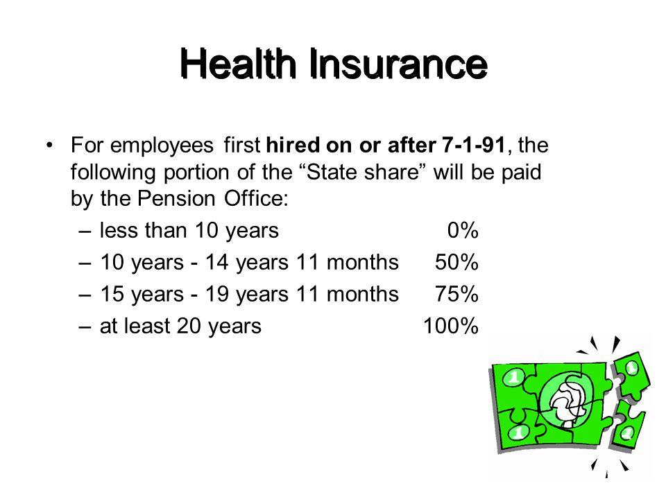 Health Insurance For employees first hired on or after 7-1-91, the following portion of the State share will be paid by the Pension Office: