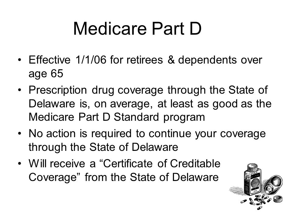 Medicare Part D Effective 1/1/06 for retirees & dependents over age 65