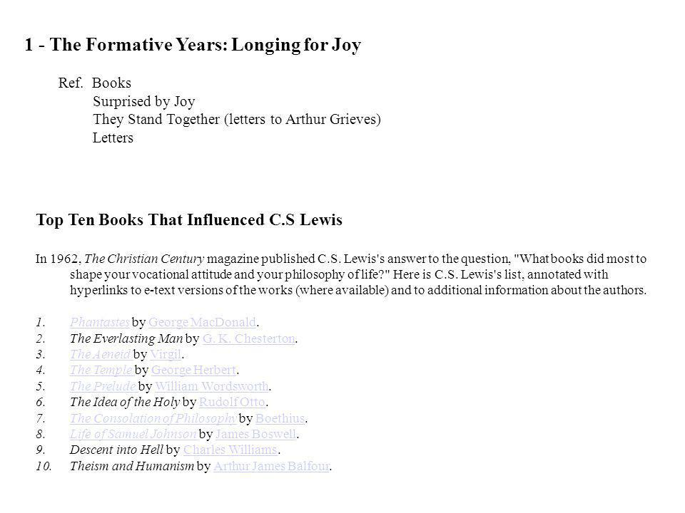 1 - The Formative Years: Longing for Joy