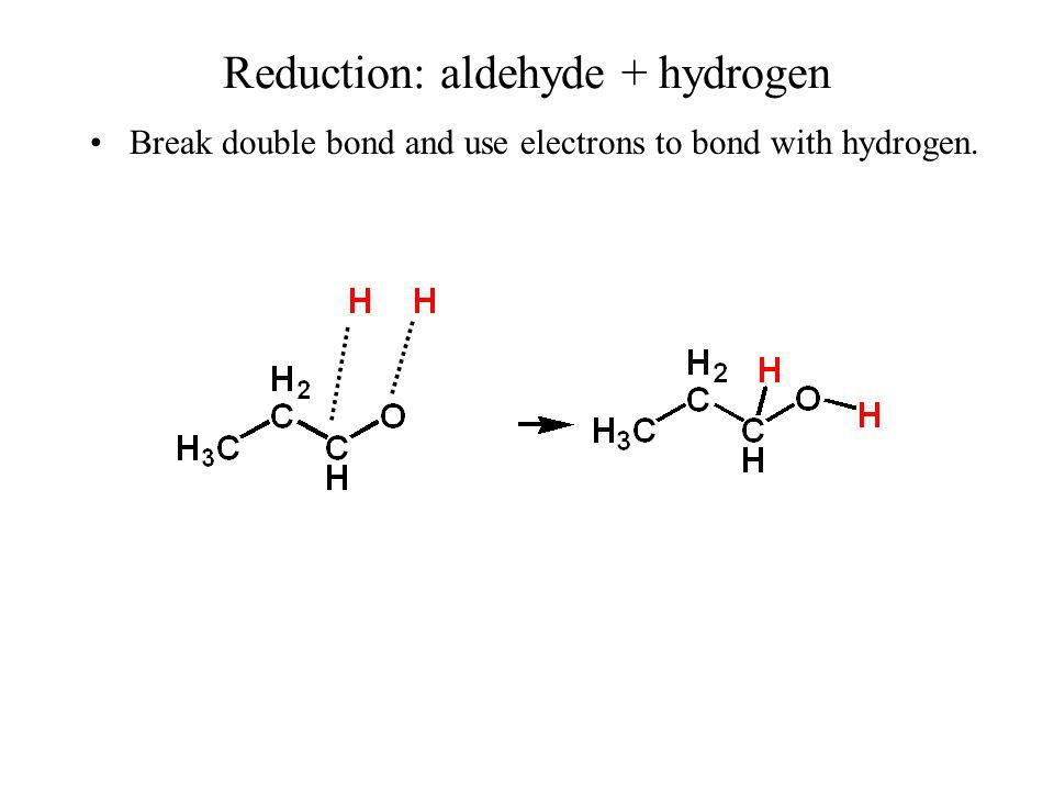 Reduction: aldehyde + hydrogen