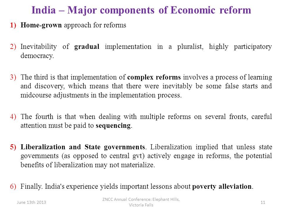 India – Major components of Economic reform