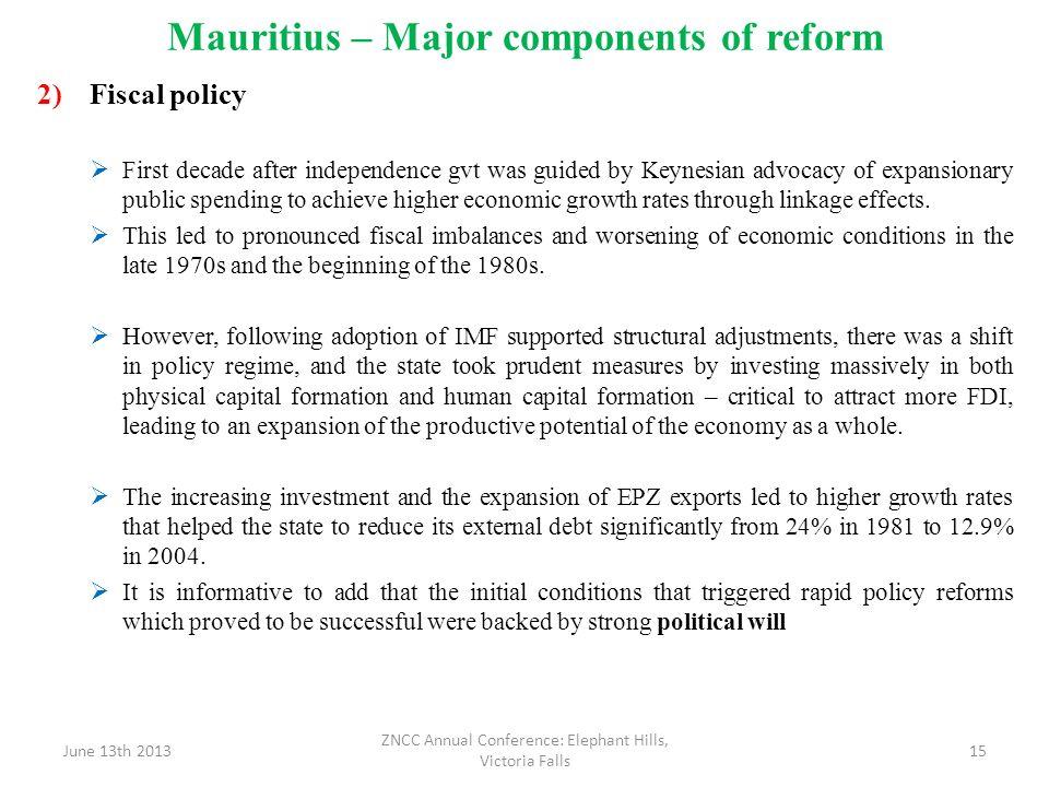 Mauritius – Major components of reform