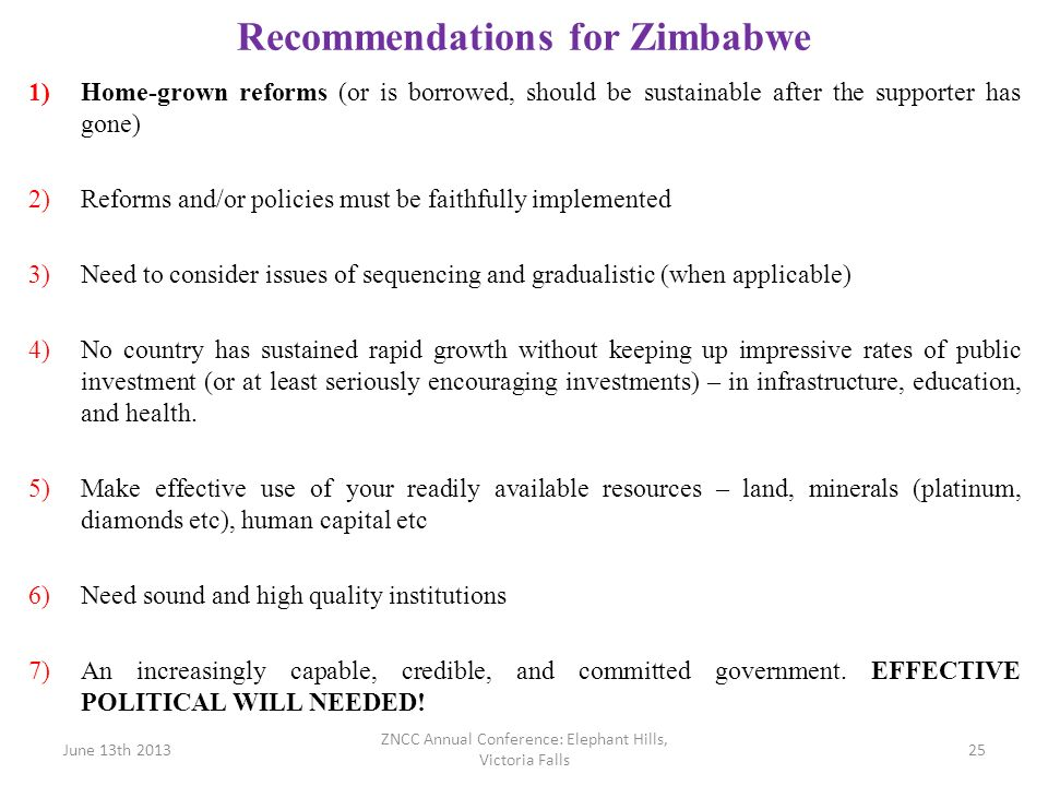 Recommendations for Zimbabwe