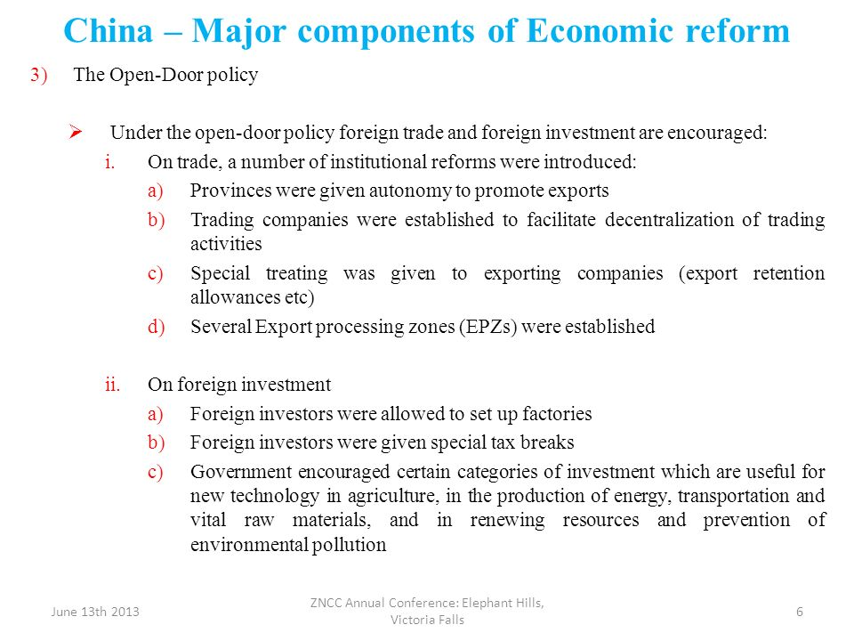 China – Major components of Economic reform