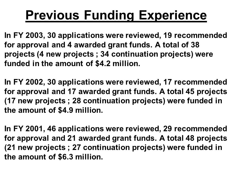 Previous Funding Experience