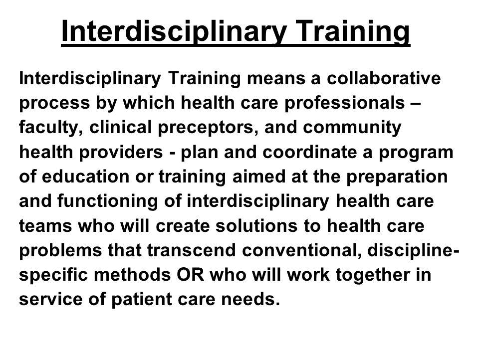 Interdisciplinary Training