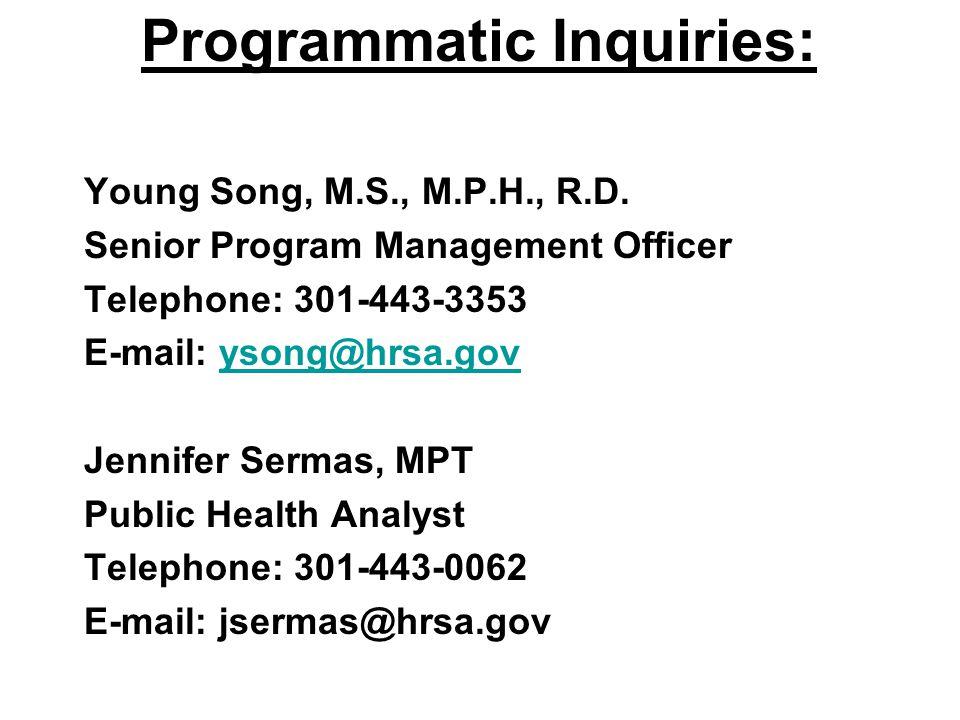 Programmatic Inquiries: