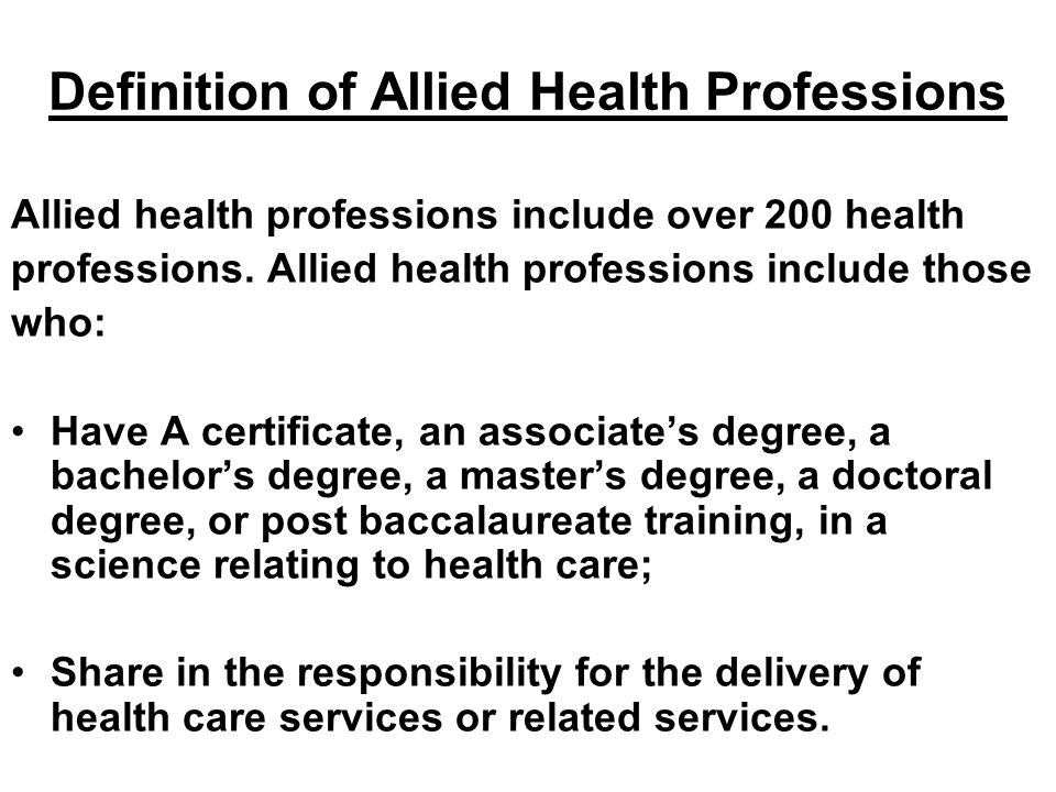 Definition of Allied Health Professions