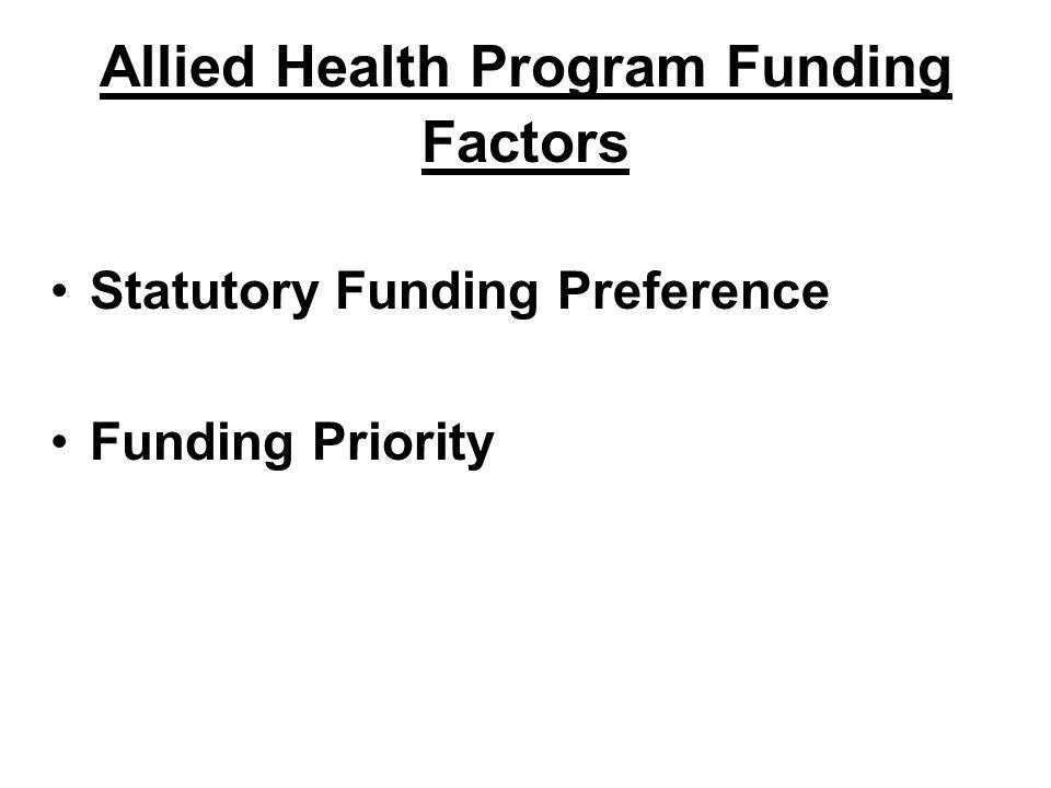 Allied Health Program Funding Factors