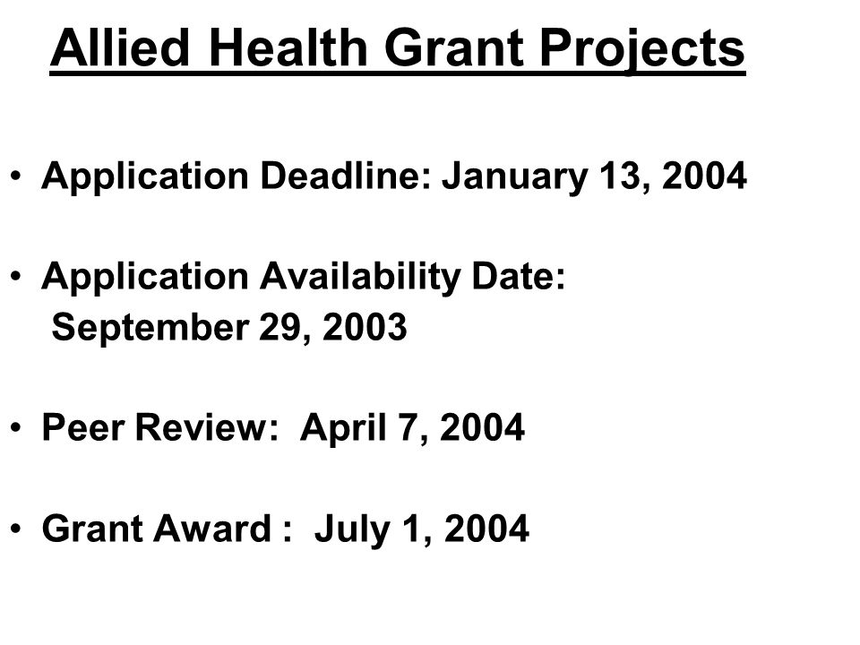 Allied Health Grant Projects
