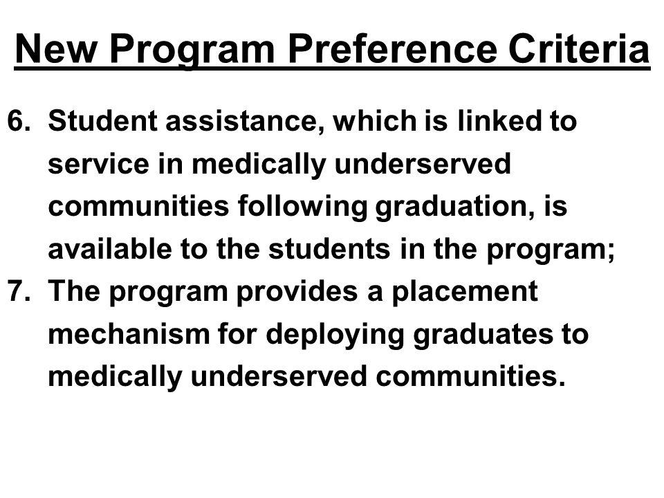 New Program Preference Criteria