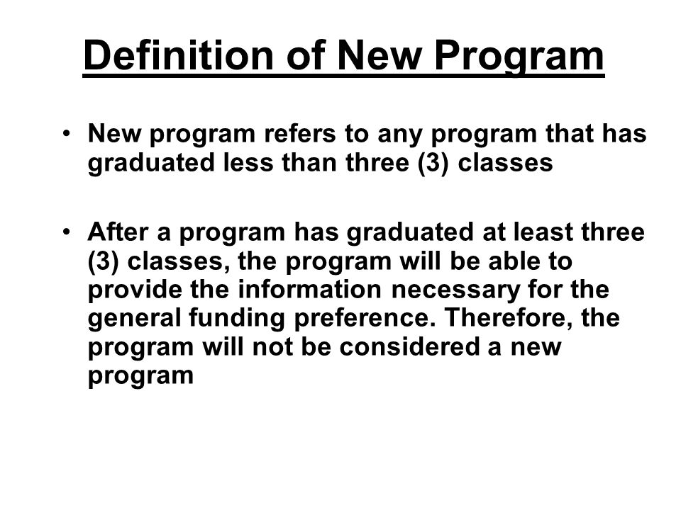 Definition of New Program