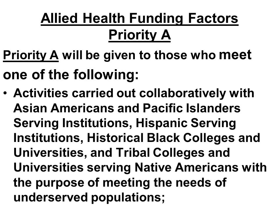 Allied Health Funding Factors Priority A