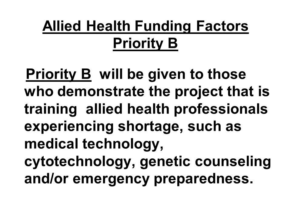 Allied Health Funding Factors Priority B