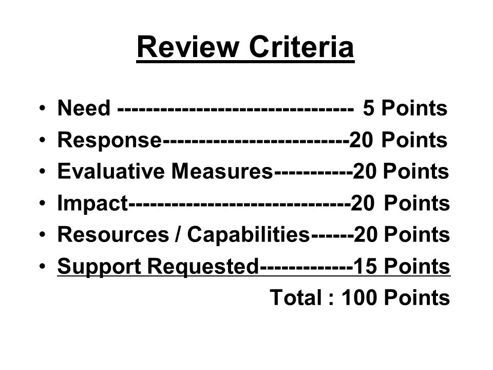Review Criteria Need --------------------------------- 5 Points