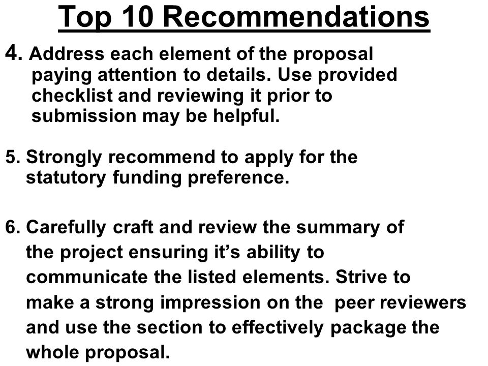 Top 10 Recommendations 4. Address each element of the proposal