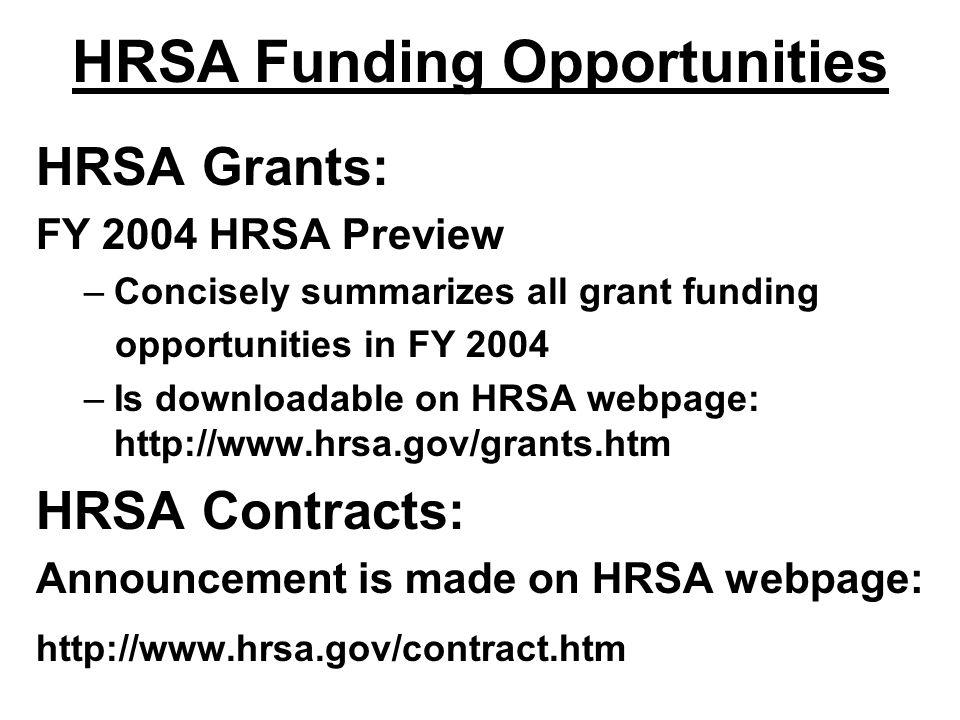 HRSA Funding Opportunities