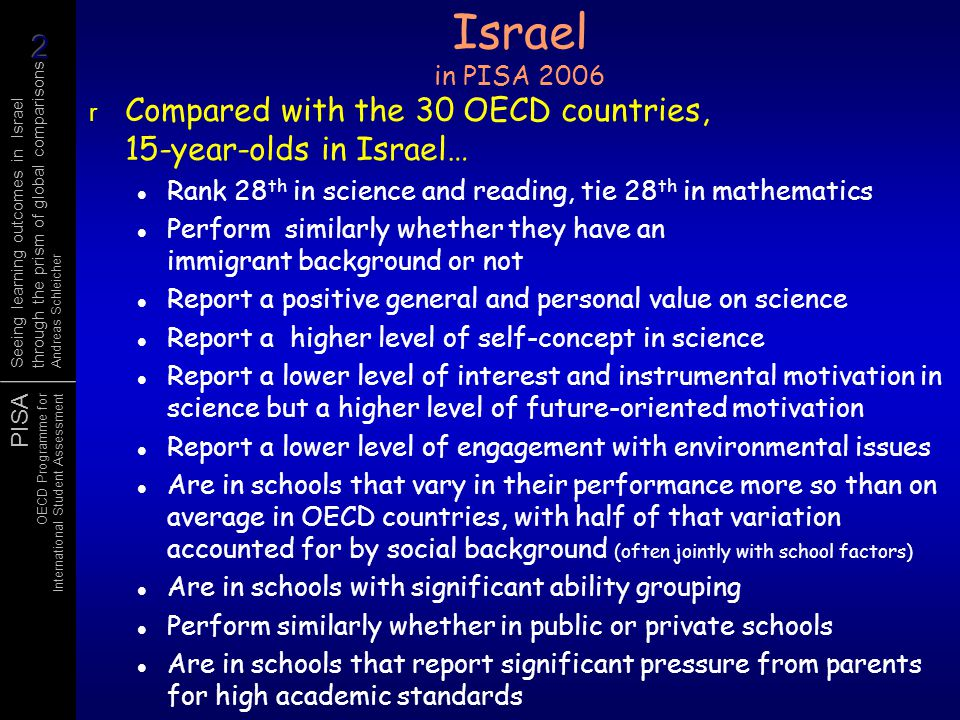 Israel in PISA 2006 Compared with the 30 OECD countries, 15-year-olds in Israel… Rank 28th in science and reading, tie 28th in mathematics.