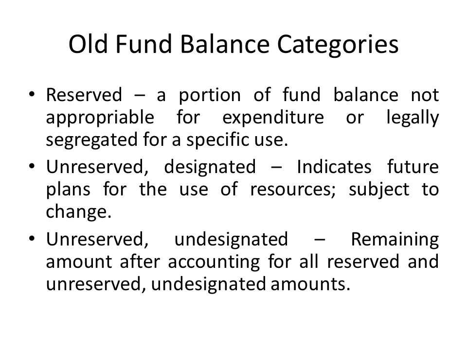 Old Fund Balance Categories
