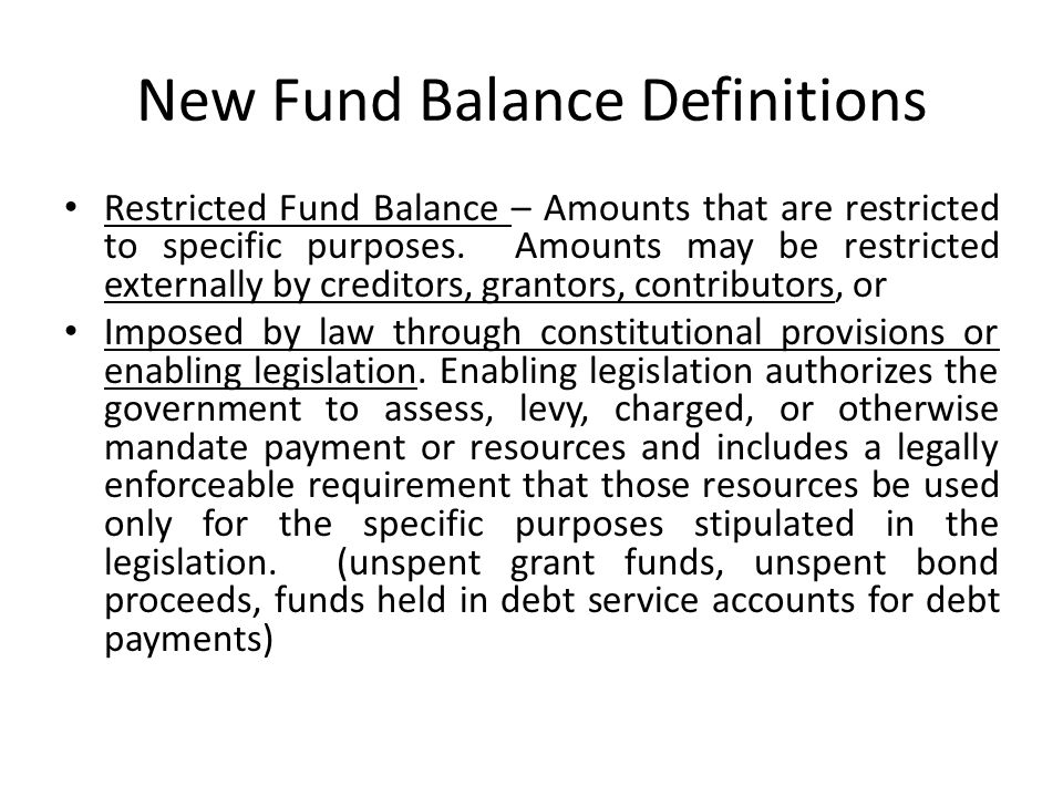 New Fund Balance Definitions