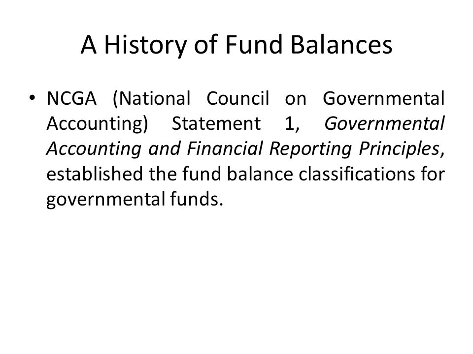 A History of Fund Balances