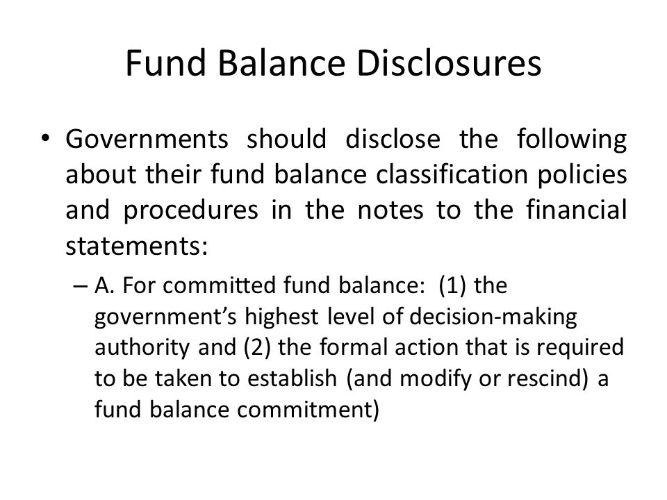 Fund Balance Disclosures