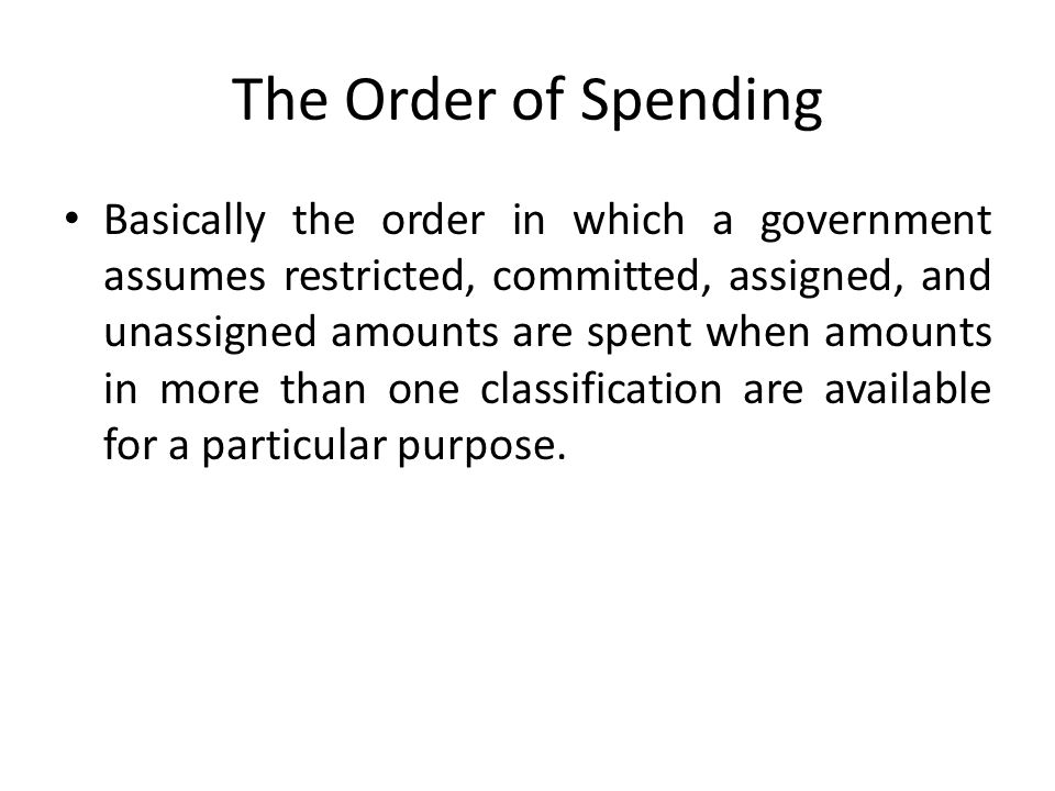 The Order of Spending