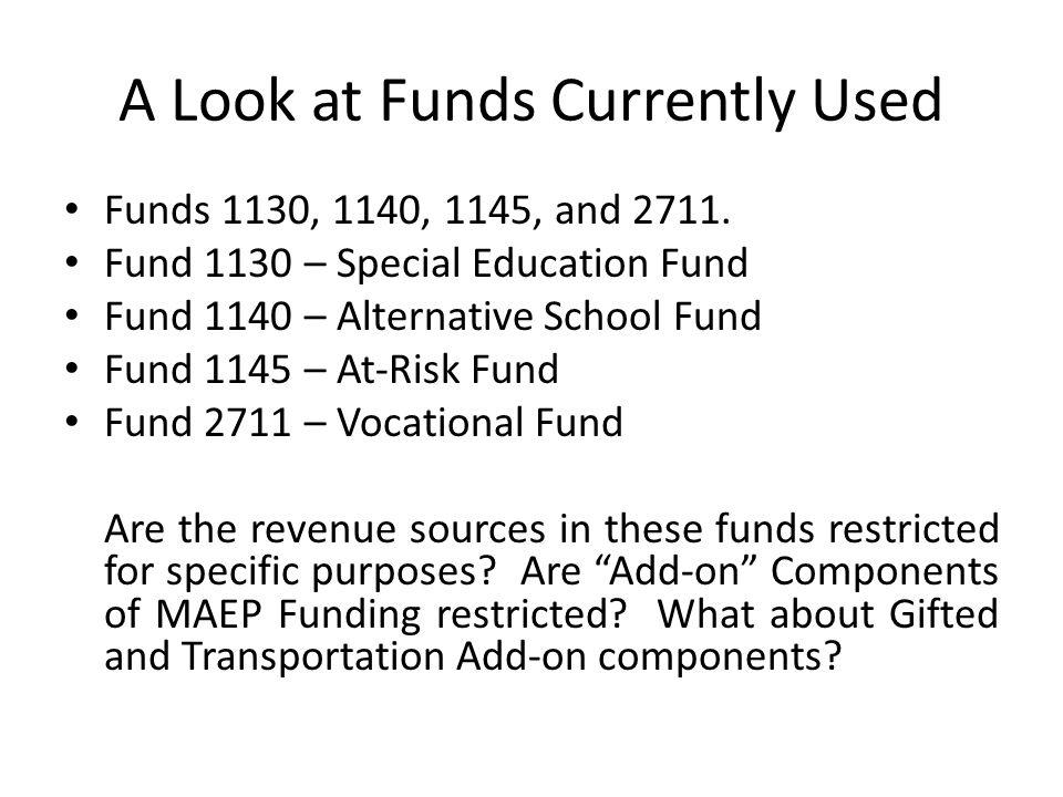 A Look at Funds Currently Used