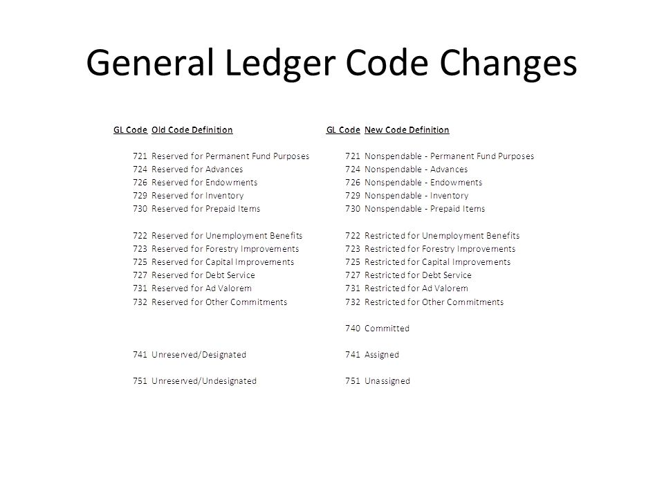 General Ledger Code Changes
