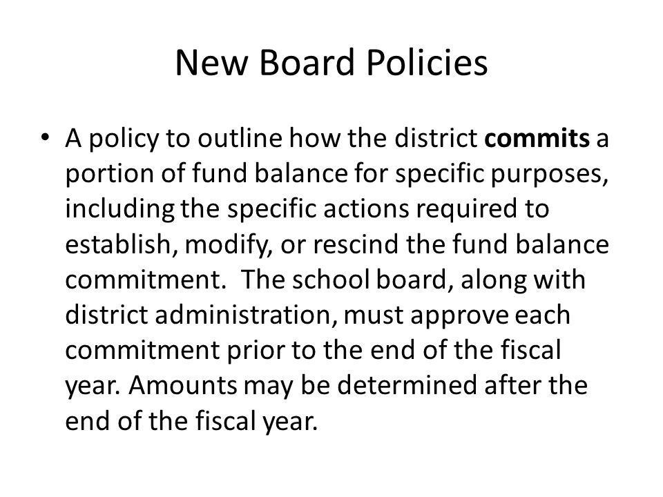 New Board Policies
