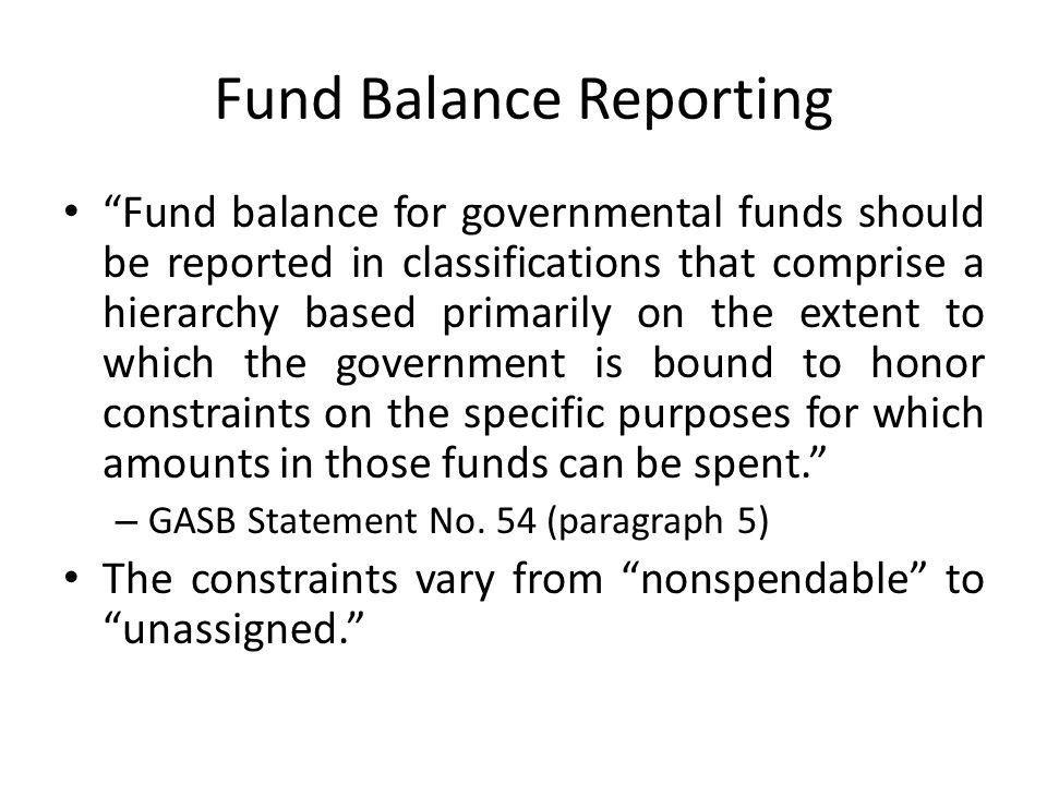 Fund Balance Reporting
