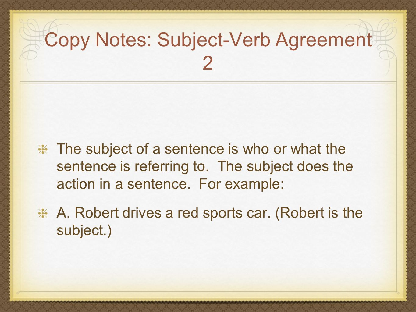 Copy Notes: Subject-Verb Agreement 2